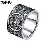 ZABRA Sterling Silver 999 Ring Men Vintage Men Rings Chinese 4 Creatures Dragon Tiger Bird Turtle Punk Rock Biker Silver <b>Jewelry</b>