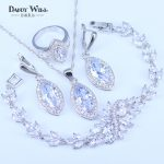 Pretty Women White Zircon <b>Silver</b> Color 925 Stamp Jewelry Sets <b>Bracelets</b> Pendant Necklace Ring Earrings With Stones Set Jewelery