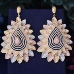 GODKI 72mm Luxury Floral Leaf Leaves Full Mirco Paved Microl Zirconia Naija <b>Wedding</b> Earring Fashion <b>Jewelry</b>
