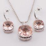 New Morganite Woman 925 Sterling <b>Silver</b> Crystal Pendant Earrings TT440