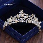 High-end bride wedding light golden rhinestone bridal crown tiara wedding <b>jewelry</b> crown wedding hair accessories HD243