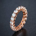 choucong Lady Single ring 4mm Diamonique cz Rose Gold 925 <b>Sterling</b> <b>silver</b> Engagement Wedding Band Ring for women fashion <b>jewelry</b>