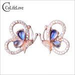 Beautiful butterfly gemstone stud <b>earrings</b> 4 pcs 4*6mm natural moonlight stone <b>earrings</b> solid 925 <b>silver</b> moonlight stone <b>earring</b>