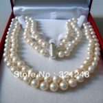new beads 2014 DIY 2 Rows 8-9MM WHITE AKOYA SALTWATER PEARL NECKLACE 18″ beads <b>jewelry</b> <b>making</b> MY2091
