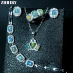ZHHIRY Natural Fire Opal Gemstone Jewelry Sets Genuine Stone Solid 925 Sterling <b>Silver</b> Precious Stone Woman Prom