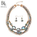 DiLiCa Fashion Women's <b>Jewelry</b> Sets <b>Handmade</b> Layered Crystal Alloy Bib Statement Necklace Earrings Set <b>Jewelry</b> for Ladies