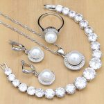 <b>Silver</b> 925 Bridal Jewelry Sets Round Pearls Beads White Zircon <b>Bracelet</b> For Women Wedding Earrings/Pendant/Necklace/Ring