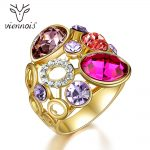Viennois Luxury Women Rings with Red Crystal Round Circles Wide Rings <b>Wedding</b> Party Bridal <b>Jewelry</b>