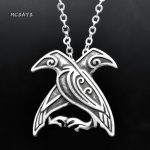 MCSAYS Norse Viking <b>Jewelry</b> Viking Odin Rave Pendant <b>Antique</b> Silver-Color Double Crow Viking Necklace Fashion Amulet Gifts 4SL