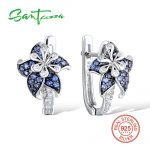 <b>Silver</b> Flower Earrings for Woman Blue White Cubic Zirconial Stone Pure 925 Sterling <b>Silver</b> Stud Earrings Fashion <b>Jewelry</b>