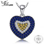 JewelryPalace Love Heart 1.4ct Created Blue Spinel Created Sapphire Cluster Pendant <b>Necklace</b> 925 Sterling <b>Silver</b> 45cm Jewelry