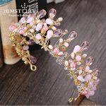 HIMSTORY <b>Handmade</b> Pretty Pink Crystal Bridal Crowns Tiaras Girls Pearl Beads Wedding Hair Accessories Hair <b>Jewelry</b> Wedding Diad