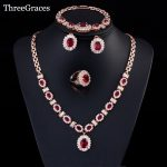 ThreeGraces Nigerian Women Red Cubic Zirconia Crystal Earing And <b>Necklace</b> Bracelets Ring Gold Color Wedding <b>Jewelry</b> Set JS167
