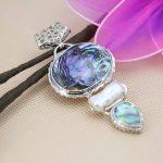 L052 Hot!Fashion 3row abalone seashells crafts freshwater white pearl pendant <b>accessories</b>,Fit beautiful women <b>jewelry</b> DIY making