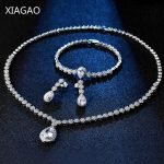 XIAGAO Luxury Wedding Decorations Dubai <b>Jewelry</b> Set Earrings <b>Necklace</b> Bracelet for Women Bride Rhinestones Big Cubic Zirconia