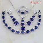 925 Sterling <b>Silver</b> Jewelry 6 <b>Bracelets</b> Oval Blue Zircon White CZ Jewelry Sets For Women Earring/Pendant/Necklace/<b>Bracelet</b>/Ring