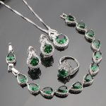 925 Sterling Silver <b>Jewelry</b> Sets For Women Clear Green CZ White Austrian Crystal Earrings/Rings/Pendant/<b>Necklace</b>/Bracelets