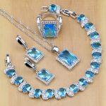 Square 925 Sterling <b>Silver</b> Bridal Jewelry Blue Cubic Zirconia Jewelry Sets For Women Earrings/Pendant/Necklace/Rings/<b>Bracelet</b>