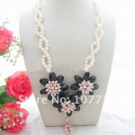 Charming! Pink&White Pearl&Onyx <b>Necklace</b> Free shippent