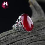 100% 925 Sterling <b>Silver</b> Ring For Women Fine Gemstone Women's <b>Jewelry</b> Trendy Red Jade Wedding Ring Hollow Carving Flower SR19