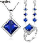Vecalon Princess 4 Colors Birthstone Jewelry Sets AAA Zircon Cz 925 sterling <b>silver</b> Necklace <b>Earrings</b> ring Jewelry set for women