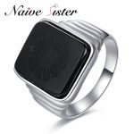 The Great Gatsby High Quality Men's Ring Black Onyx 925 <b>Sterling</b> <b>Silver</b> Ring Men's <b>Jewelry</b> <b>Silver</b> Color Charm Ring For Men