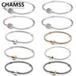 CHAMSS 100% Real 925MOMENTS Gold Button <b>Silver</b> <b>Bracelet</b> PDs Original Valentine's Day Gift