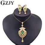 GZJY Fashion Women's <b>Jewelry</b> Sets Gold Color CZ Red Green Zircon Pendant <b>Necklace</b> Grapes Shape Earrings Set For Women 6colors