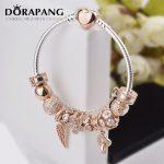 DORAPANG 100% 925 Sterling <b>Silver</b> Rose gold Heart <b>bracelet</b> suits Clear CZ Flower Charm Bead fit <b>Bracelet</b> DIY For Women Jewelry