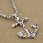 925 Sterling <b>Silver</b> Skull Anchor Red CZ Stone Fashion Pendant 9J002 Stainless Steel <b>Necklace</b> 24inch