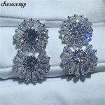 choucong Flower earring princess cut AAAAA zircon cz White Gold Filled Engagement <b>Wedding</b> Stud Earrings for women <b>jewelry</b>