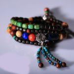 Multi-layer-ethnic <b>bracelets</b> 925 <b>silver</b> leaf red sandalwood retro handmade multi-turn jewelry
