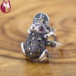 Ring For Women Lucky Toad Frog Plutus Coins Lovely Red Crystal Vintage <b>Jewelry</b> Real 925 Sterling Thai <b>Silver</b> Animal Best Gifts