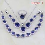 925 Sterling <b>Silver</b> Jewelry 6 <b>Bracelets</b> Blue Zircon White CZ Jewelry Sets For Women Earring/Pendant/Necklace/<b>Bracelet</b>/Ring