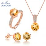 LAMOON Wedding Accessories Natural Gemstone Yellow Citrine 925 Sterling <b>Silver</b> 3PCS Fine Jewelry Set For Women Engagement V002-3