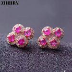 ZHHIRY Genuine Ruby Gem <b>Earring</b> Natural Stone Solid 925 Sterling <b>Silver</b> <b>Earrings</b> Women Fine Jewelry