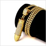 Trendy High Quality Rhinestone Iced Out Bullet Pendant Necklaces Men's Gun Rifle <b>Accessory</b> Bling Bling Hip Hop <b>Jewelry</b>