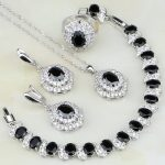 925 Sterling <b>Silver</b> Jewelry Black Stones White CZ Jewelry Sets For Women Anniversary Earring/Pendant/Necklace/<b>Bracelet</b>/Ring
