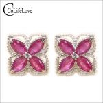 Beautiful natural ruby stud eaiings 8pcs 2*4mm ruby gemstone stud <b>earrings</b> solid 925 <b>silver</b> gemstone stud <b>earrings</b> for woman