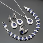 Heart Blue Zircon Silver 925 Costume <b>Jewelry</b> Sets Wedding Women Bracelets <b>Necklaces</b> Rings Earring With Stones Set Gift Box