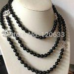 NEW Top Long beautiful 8mm Black shell pearl necklace 60″ Silver hook wholesale women's <b>jewelry</b>