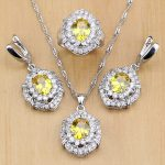 Natural Gold Cubic Zirconia 925 Sterling Silver <b>Jewelry</b> Sets For Women Party <b>Accessories</b> Earrings/Pendant/Necklace/Rings