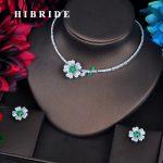 HIBRIDE Elegant Green Flower Bridal Dubai <b>Jewelry</b> Sets Micro CZ Pave By Hand <b>Necklace</b> Set Beauty <b>Jewelry</b> Party Gifts N-570