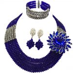 Royal Blue <b>Silver</b> Nigerian Wedding Costume Necklace African Beads Jewelry Set for Women and Girls 6C-SS019