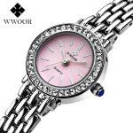 2018 New Luxury Brand WWOOR Women Quartz <b>Bracelet</b> Watch Women Dress Watches Ladies Fashion Casual <b>Silver</b> Rhinestones WristWatch
