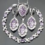4PCS Bridal 925 Sterling Silver Nickle Free Purple Stones <b>Jewelry</b> Sets Bracelets/Earrings/Pendant/Necklace/Rings For Women