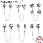 AZIZ BEKKAOUI Real 925 Sterling Silver Diy Safty Chain Beads Fit for diy Bracelets Spacer Beads For <b>Jewelry</b> <b>Making</b> Gift