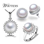 WATTENS New natural Freshwater Pearl set, jewelry sets pearl pendant necklace <b>earrings</b> and ring for women with gift box