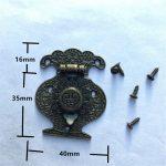 Wooden <b>Jewellery</b> Box Vase Buckle Metal Box Hasp Latch Lock <b>Decorative</b> Hasp Antique Bronze Pattern Carved,40mmx51mm,10Sets