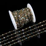 4mm India Agates Plated Bronze Copper Wire Wrapped Link Necklace,Faceted Round Aga te Chain Rosary Beading Chain Bracelet <b>Supply</b>